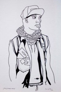 """Joburg Street Artist"". Ink illustration on paper. Kevin du Plessis. 2014."