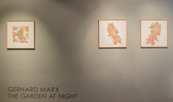 "The title view of the exhibition. ""The Garden at Night"" is a beautiful title and brings to the works an element of mystery, referring to the ongoing growing processes we never truly get to witness due to the slower nature of growing things."