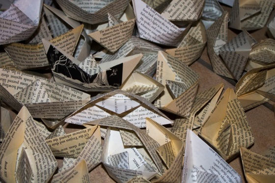 2000 boats folded from pages of The Odyssey. (Folding that amount, of course, affords you a wish)